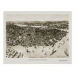 Boston, MA Panoramic Map - 1905 Poster