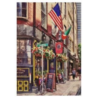 Boston MA - Restaurants on Creek Square Wood Poster