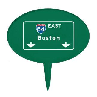 Boston, MA Road Sign Cake Picks