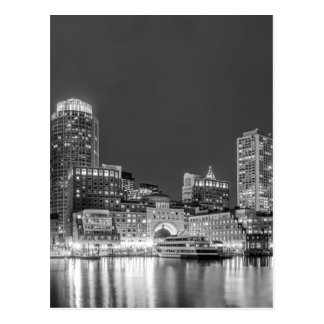 boston ma skyline at night postcard