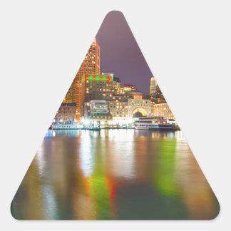 boston ma skyline at night triangle sticker