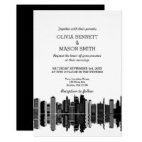 Boston Ma Skyline Cityscape Wedding Invitation