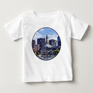 Boston MA - Skyline With Custom House Tower Baby T-Shirt