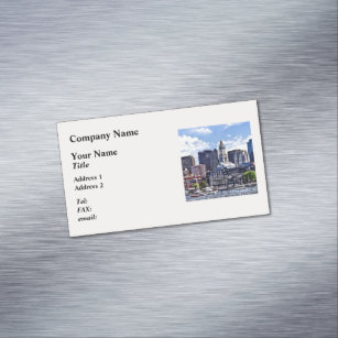 Boston skyline business cards templates zazzle boston ma skyline with custom house tower magnetic business card reheart Choice Image