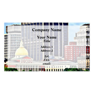 Boston MA - Skyline with Massachusetts State House Business Card