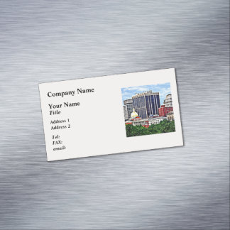 Boston MA - Skyline with Massachusetts State House Business Card Magnet