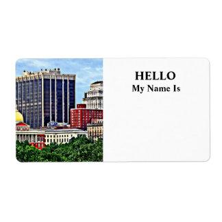Boston MA - Skyline with Massachusetts State House Label