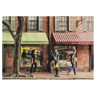 Boston Ma - Street With Candy Store And Bakery Wood Poster