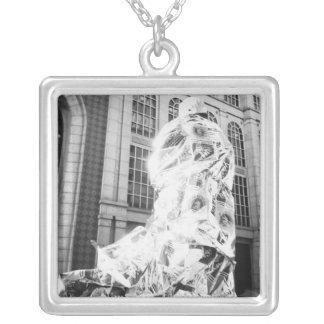 Boston, MA USA, Runner in Foil Boston Marathon Silver Plated Necklace