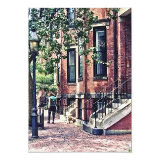 Boston MA - Walking the Dog on Mount Vernon Street Card