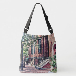Boston MA - Walking the Dog on Mount Vernon Street Crossbody Bag