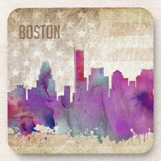 Boston, MA | Watercolor City Skyline Beverage Coaster