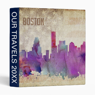 Boston, MA | Watercolor City Skyline Binder