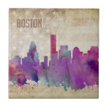 "Boston, MA | Watercolor City Skyline Ceramic Tile<br><div class=""desc"">A neon watercolor outline of the Boston city skyline with a distressed American flag backdrop.</div>"