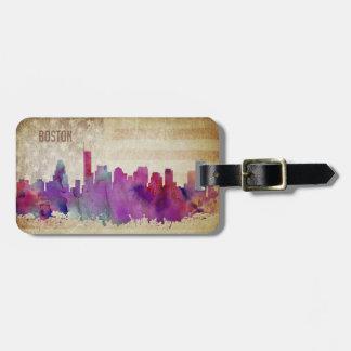 Boston, MA | Watercolor City Skyline Luggage Tag