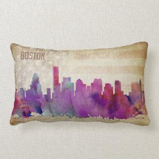 Boston, MA | Watercolor City Skyline Lumbar Pillow