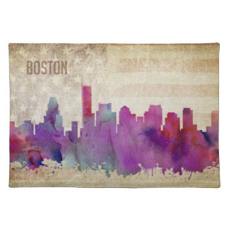 Boston, MA | Watercolor City Skyline Placemat