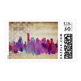 Boston, MA | Watercolor City Skyline Postage