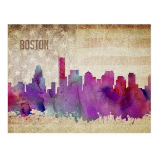 Boston, MA | Watercolor City Skyline Postcard