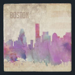 "Boston, MA | Watercolor City Skyline Stone Coaster<br><div class=""desc"">A neon watercolor outline of the Boston city skyline with a distressed American flag backdrop.</div>"
