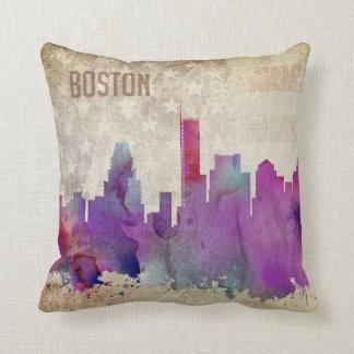 Boston, MA   Watercolor City Skyline Throw Pillow