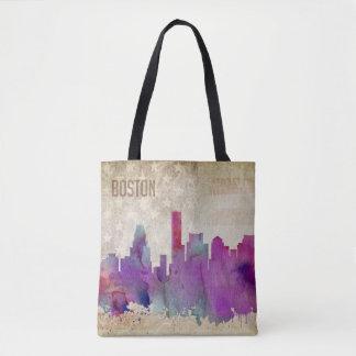 Boston, MA | Watercolor City Skyline Tote Bag