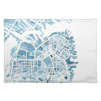 Boston MA watercolor map placemat