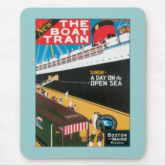 Boston Maine Boat Train US USA Vintage Travel Art Mouse Pad