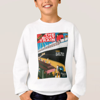 Boston Maine Boat Train US USA Vintage Travel Art Sweatshirt