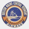 Boston Maine-Central Vermont Airways Logo Classic Round Sticker