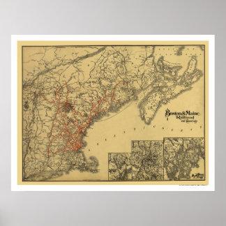Boston & Maine Railroad Map 1898 Poster