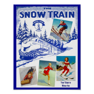 Boston & Maine Railroad Snow Train Travel Poster