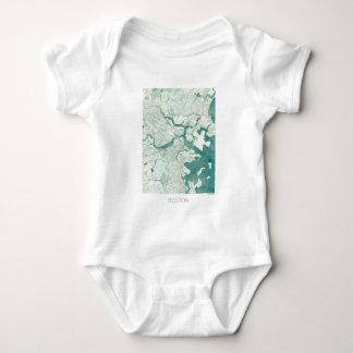 Boston Map Blue Vintage Watercolor Baby Bodysuit