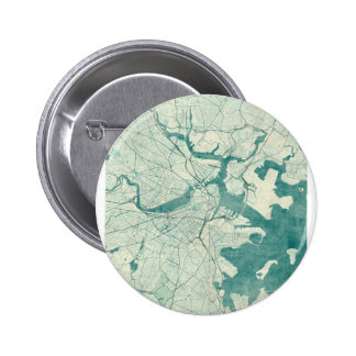 Boston Map Blue Vintage Watercolor Pinback Button