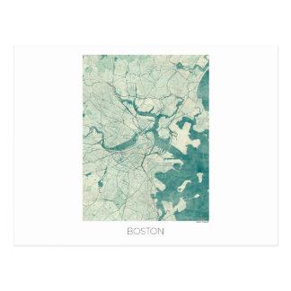 Boston Map Blue Vintage Watercolor Postcard
