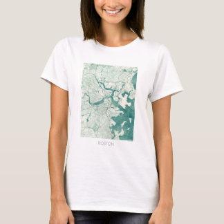 Boston Map Blue Vintage Watercolor T-Shirt