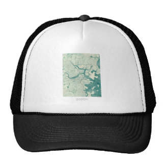Boston Map Blue Vintage Watercolor Trucker Hat