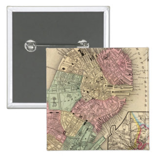 Boston Map by Mitchell Pinback Button