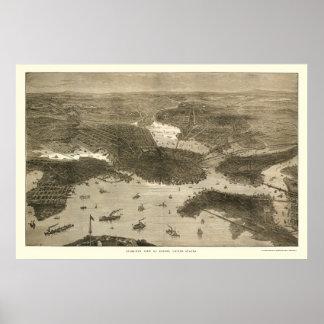 Boston, mapa panorámico del mA - 1870s Poster