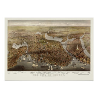 Boston mapa panorámico del mA - 1873 Posters