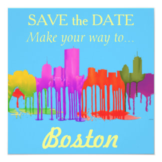BOSTON MASS. SKYLINE PUDDLES - CARD