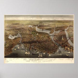 Boston Massachusetts 1873 Antique Panoramic Map Posters