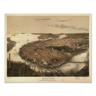 Boston Massachusetts 1877 Antique Panoramic Map Poster