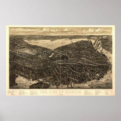 Boston Massachusetts 1879 Antique Panoramic Map Poster