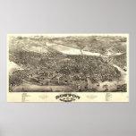 Boston Massachusetts 1880 Antique Panoramic Map Poster