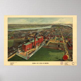 Boston Massachusetts 1902 Antique Panoramic Map Print