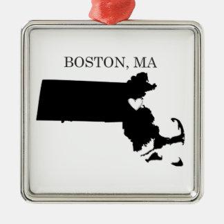 Boston Massachusetts Adorno Navideño Cuadrado De Metal
