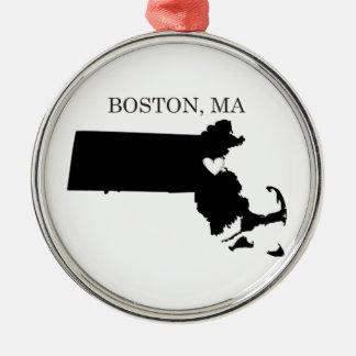 Boston Massachusetts Adorno Navideño Redondo De Metal