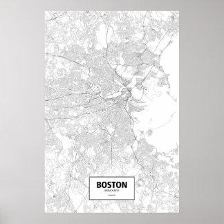 Boston, Massachusetts (black on white) Poster