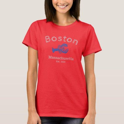 Boston Massachusetts Blue Lobster T_shirt dark W T_Shirt